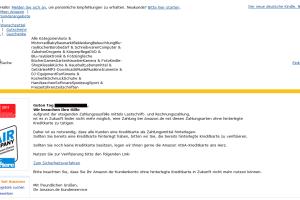 Amazon Phishing-Mail: Zahlung nur noch mit hinterlegter Kreditkarte – Amazon braucht ihre Mithilfe