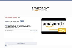 Achtung Phishing: Angebliche 25 Euro Amazon Geschenkkarte auf Facebook