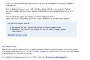 Achtung: Gefälschte Mails von PayPal wieder im Umlauf