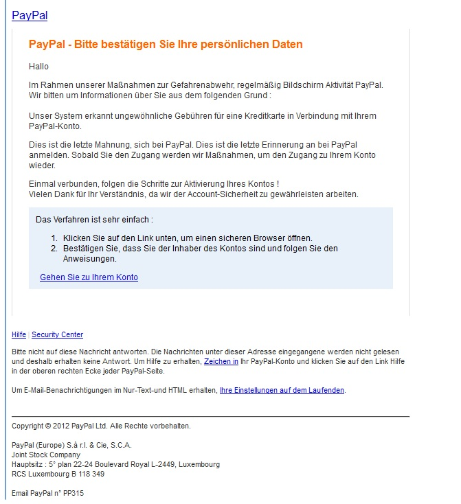 PayPal Spam-Mail