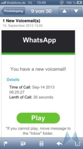 Gefälschte WhatsApp Benachrichtigungs-Mail