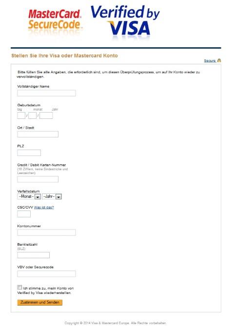 Formular der Phishing-Mail