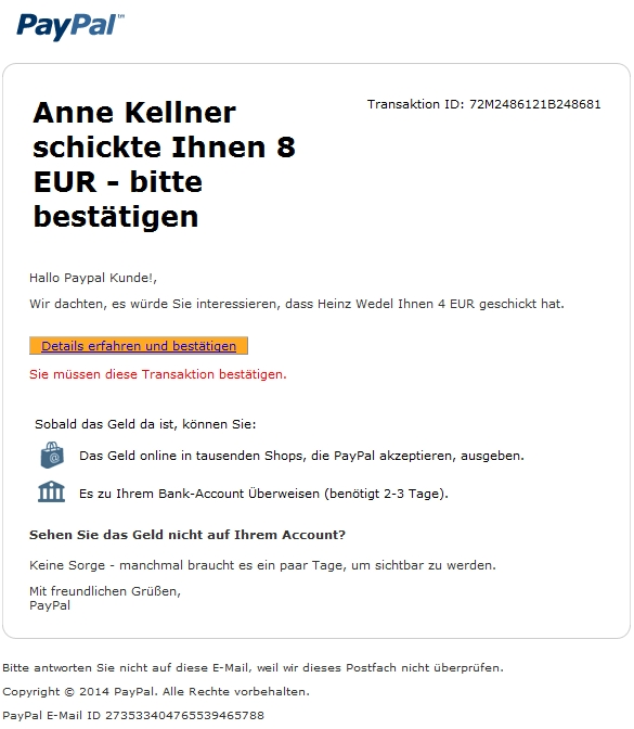 sofort zahlung erhalten neue paypal phishing mail anti spam info. Black Bedroom Furniture Sets. Home Design Ideas