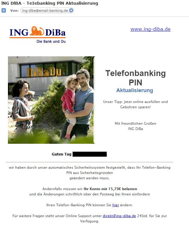 Phishing Mail im Namen der ING Diba