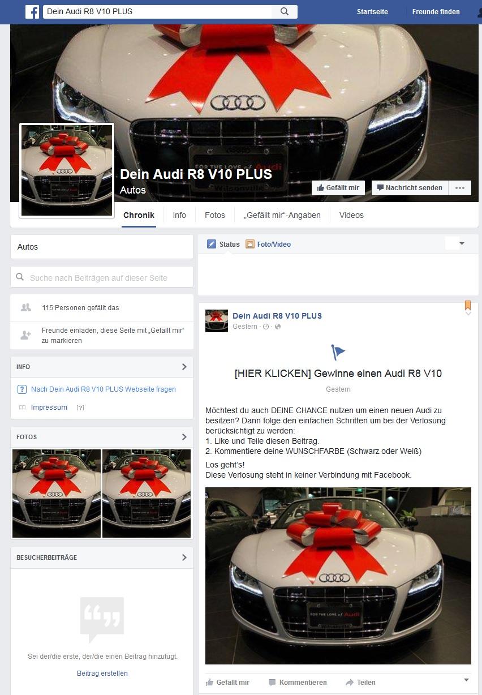 Facebook-Fake-Gewinnspiel Dein Audi R8 V10 PLUS