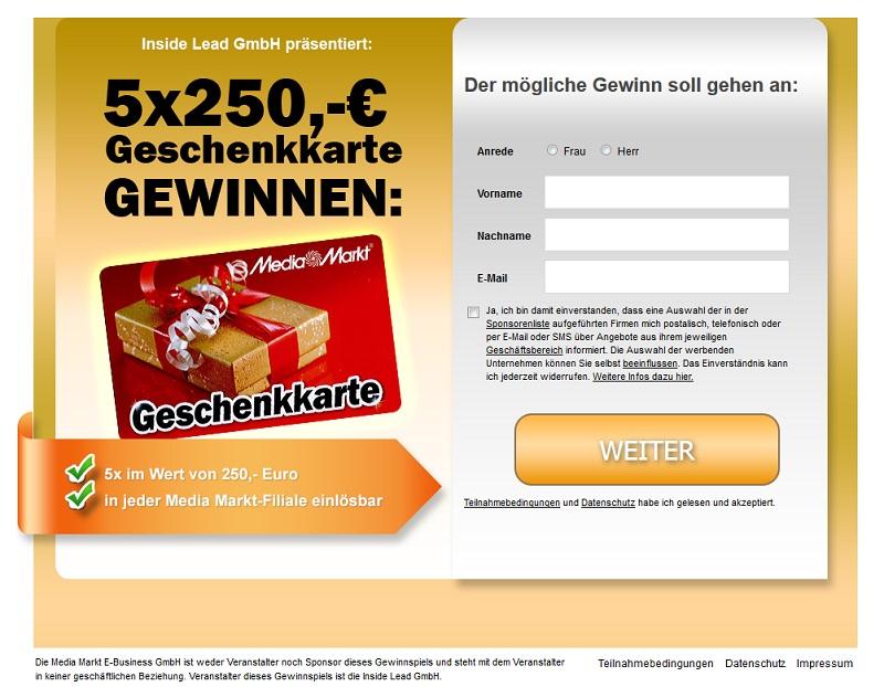 Inside Lead Media Markt Gutschein Gewinnspiel Spam