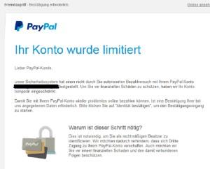 """PayPal """"Ihr Konto wurde limitiert"""""""