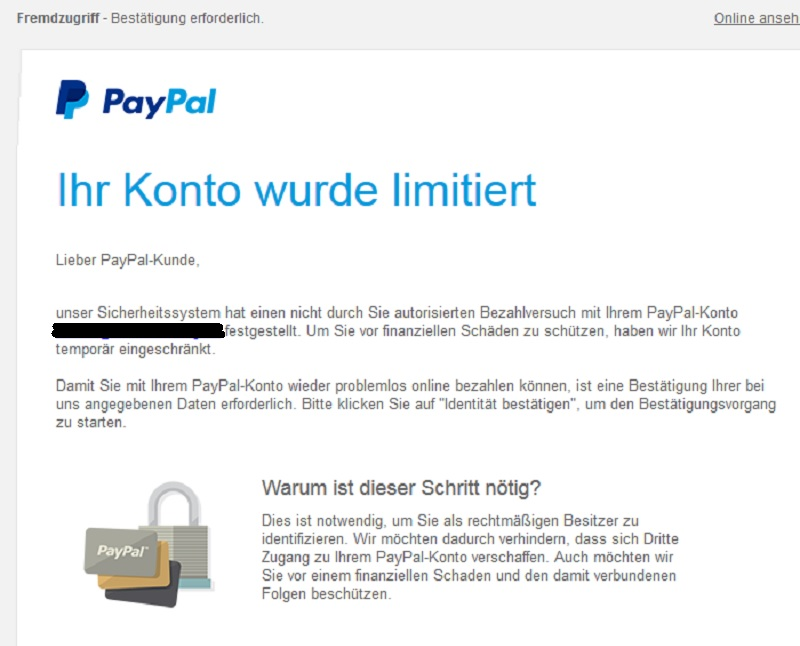 paypal phishing ihr konto wurde limitiert anti spam info. Black Bedroom Furniture Sets. Home Design Ideas