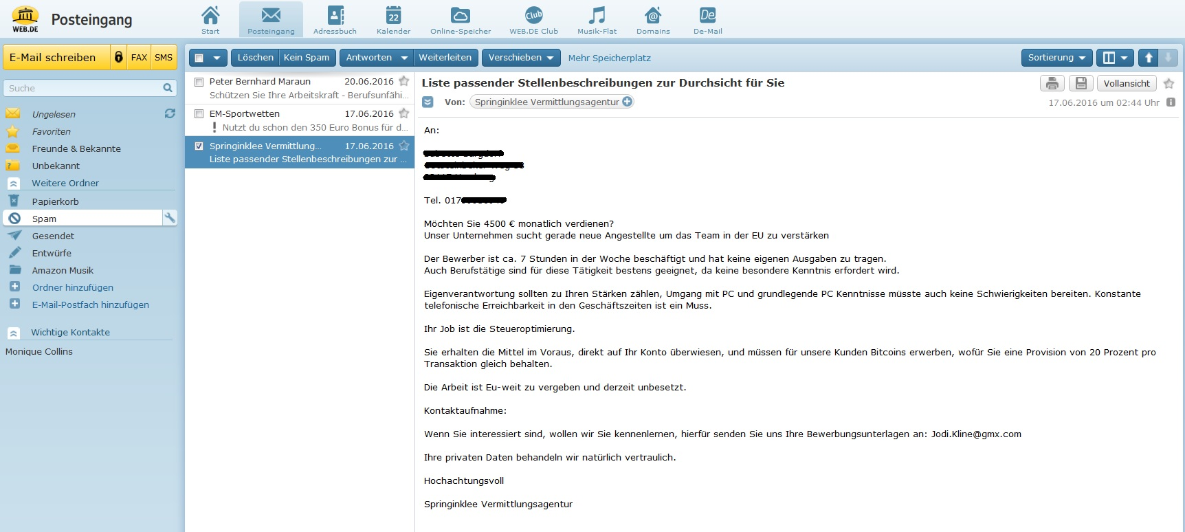 Springinklee Vermittlungsagentur Spam