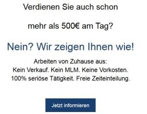 Verdienen Sie auch schon mehr als 500€ am Tag?