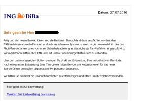 ING-DiBa Phishing-Mail: Neues TAN-Verfahren
