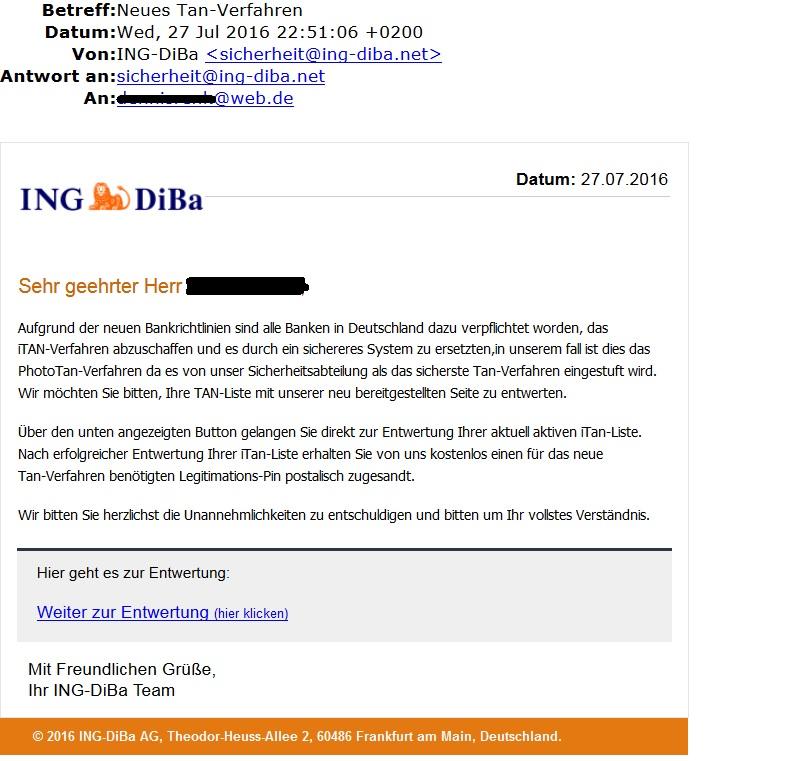 ING-DiBa Phishing-Mail - Neues TAN-Verfahren