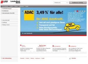 Screenshot der LBB-Webseite