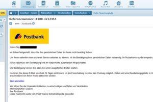 """Postbank-Phishing: """"Bestätigung Ihrer persönlichen Daten notwendig"""""""