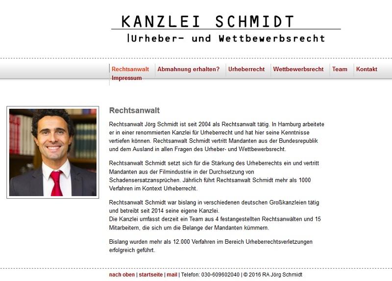 """""""Kanzlei Schmidt–Berlin""""-Abmahnung: Fake! (Webseite-Screenshot)"""