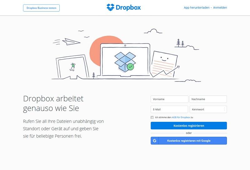 68 Millionen Dropbox-Passwörter gestohlen (Screenshot @dropbox.com/de)