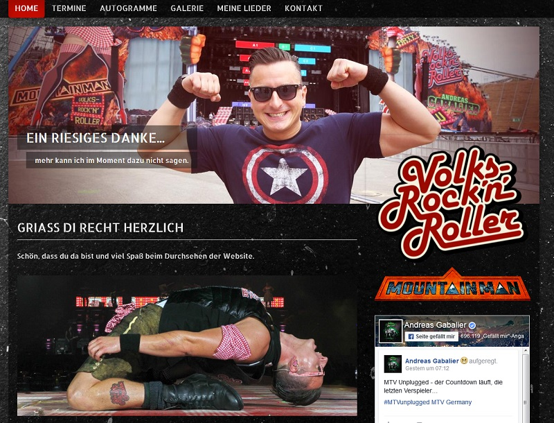Andreas Gabalier ist nicht tot! (Screenshot @ andreas-gabalier.at)