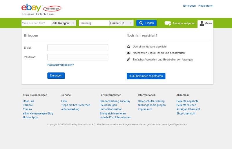 EbayKleinanzeigen-Login (Screenshot @ ebay-kleinanzeigen.de)