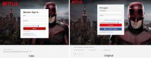 Netflix-Login: Original und Fälschung