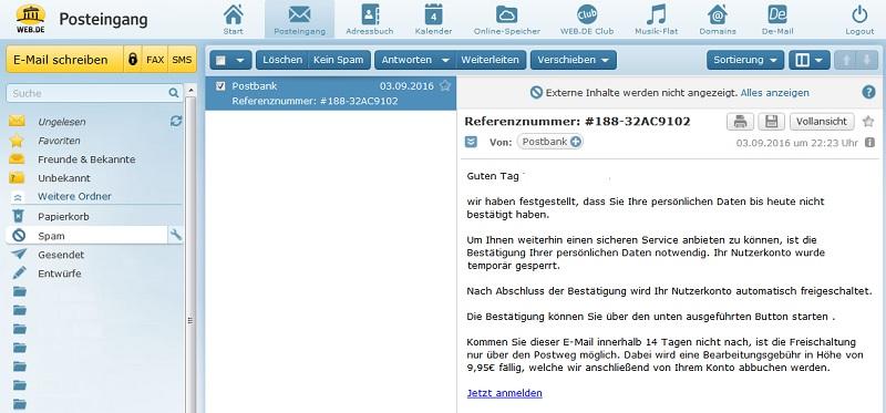 """Postbank-Fake: """"Persönlichen Daten bis heute nicht bestätigt"""""""