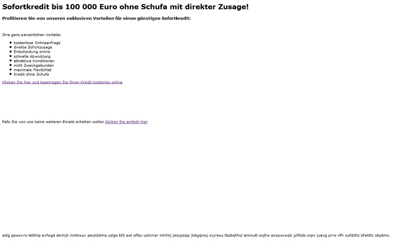 e mail spam sofortkredit bis 100 000 euro ohne schufa anti spam info. Black Bedroom Furniture Sets. Home Design Ideas