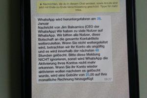 WhatsApp-Hoax: Kontoaktivierung kostet 25 Euro