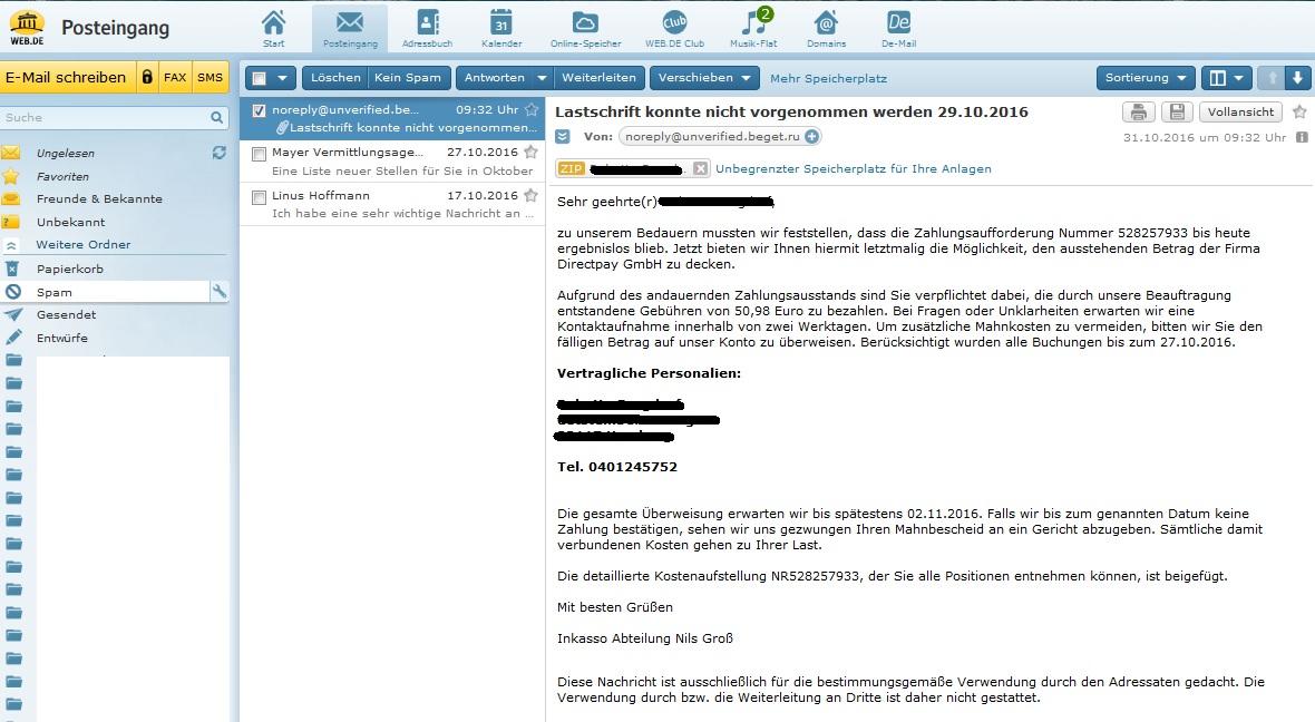Da issa wieder, der DirectPay GmbH-Spam - Anti-Spam Info