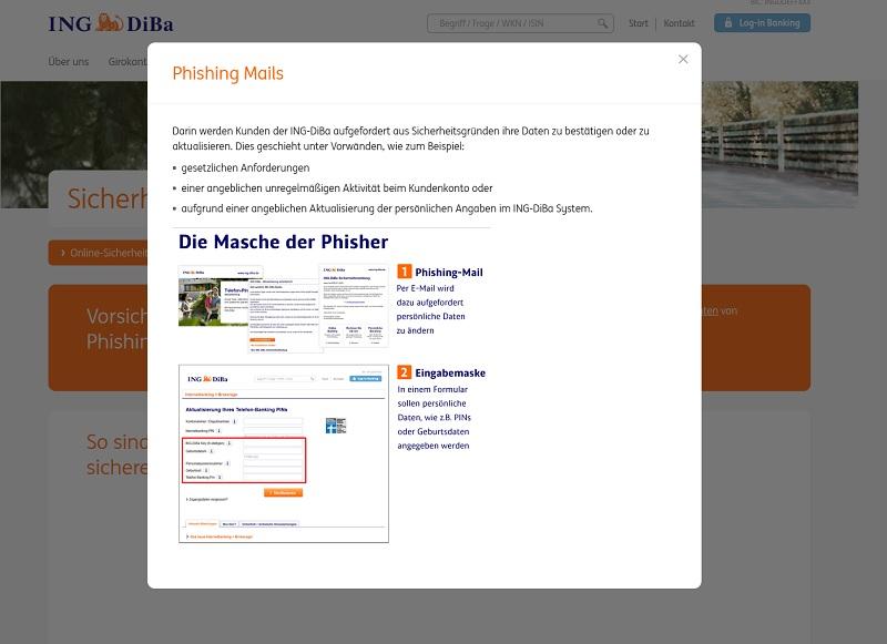 ING-DiBa Phishing-Warnung (Screenshot ing-diba.de)
