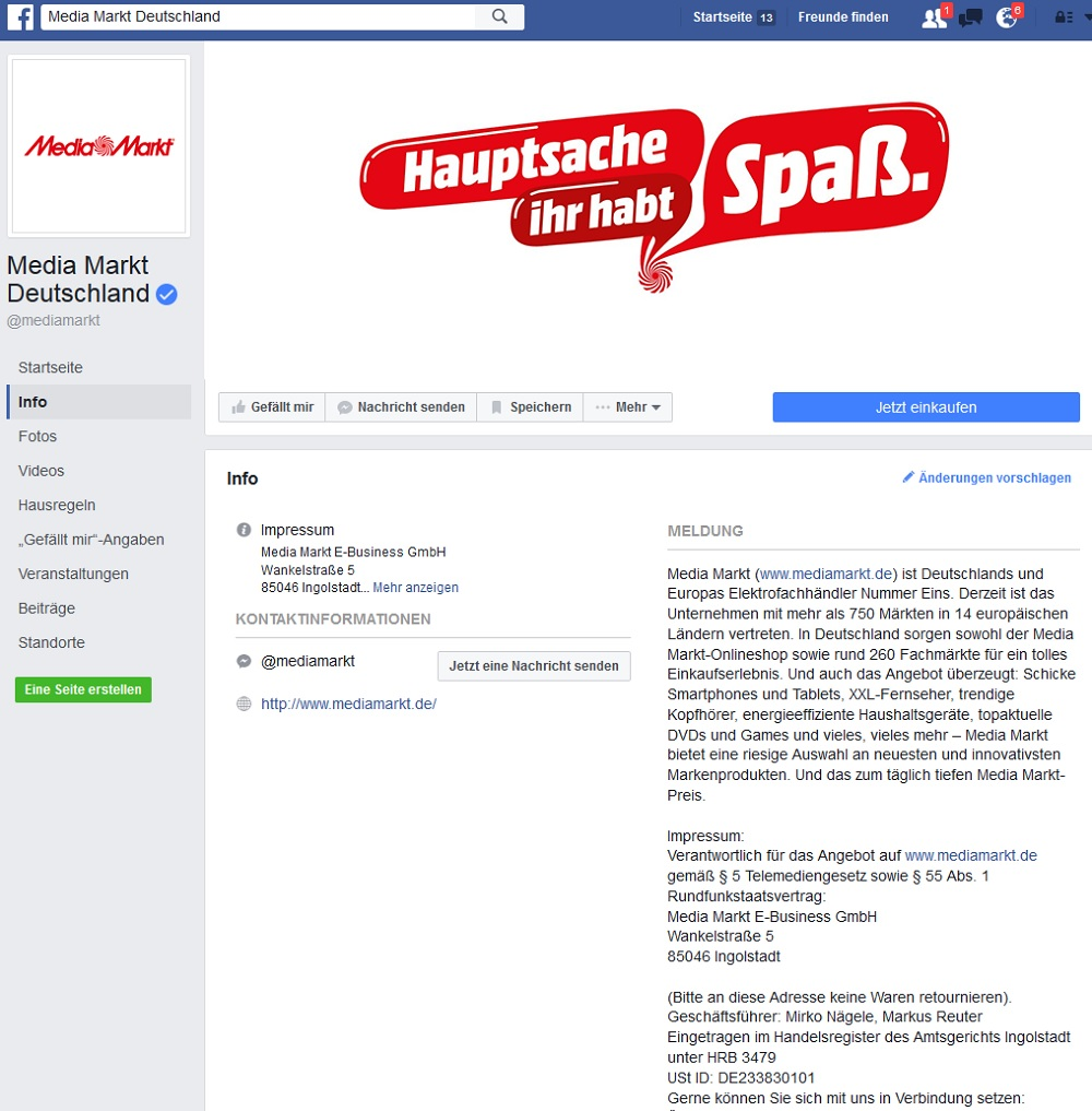 Original Facebook-Media-Markt-Seite
