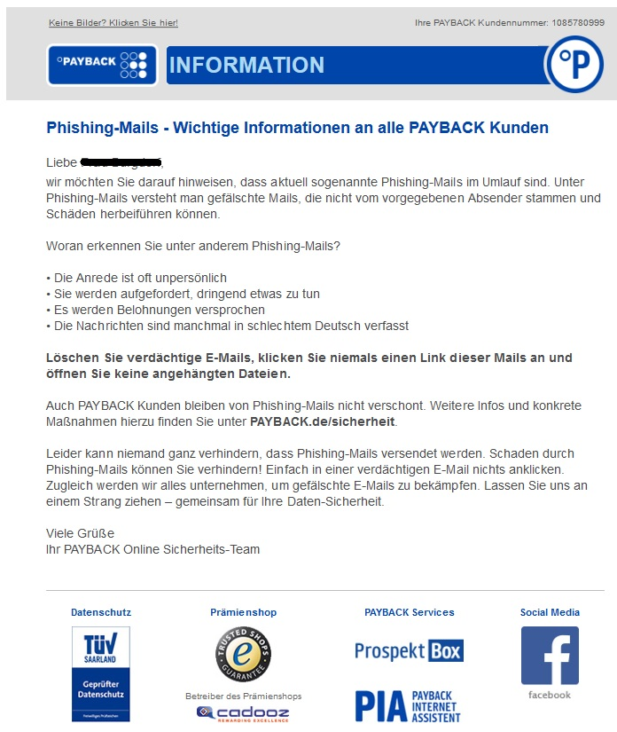Payback warnt Anti Spam Info