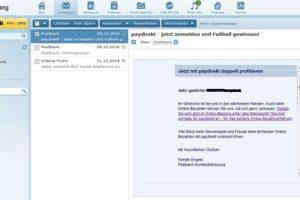 "Postbank-Phishing: ""Jetzt mit paydirekt doppelt profitieren"""