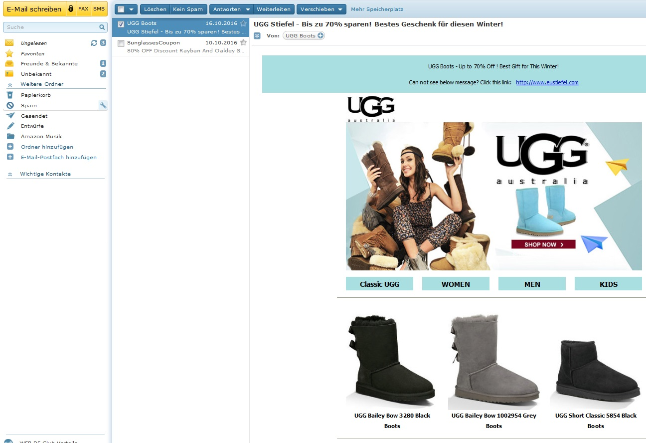 """Achtung, Fakes: """"UGG Boots – Up to 70% Off !"""" Anti Spam Info"""