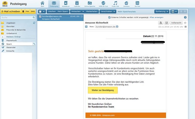 amazon fake nicht aktuelle zahlungsdaten anti spam info. Black Bedroom Furniture Sets. Home Design Ideas
