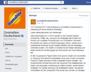 Ovomaltine: Gift Attacke? (Screenshot @ Facebook-Seite)