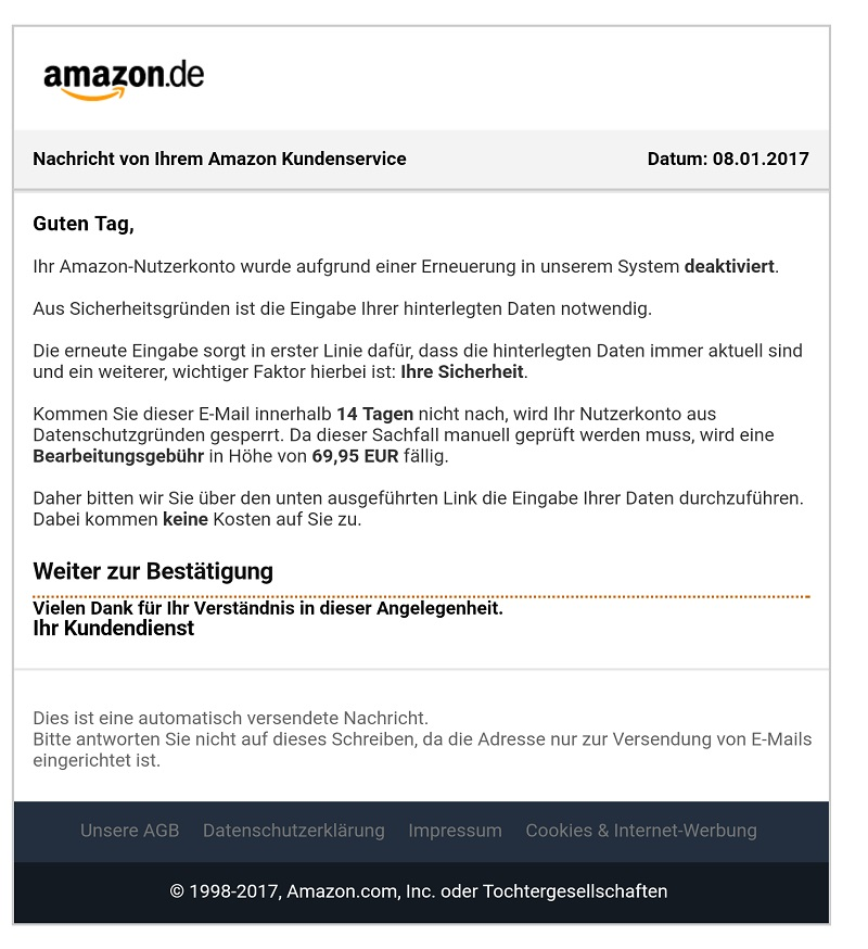 amazon phishing nutzerkonto aufgrund einer neuerung deaktiviert anti spam info. Black Bedroom Furniture Sets. Home Design Ideas