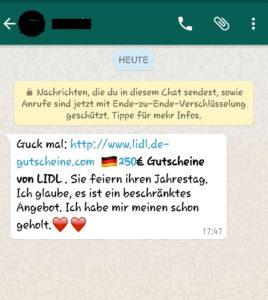 Fake-Lidl-Gutschein via WhatsApp