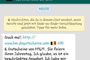 WhatsApp: H&M-Gutschein zum 70-jährigen Jubiläum?