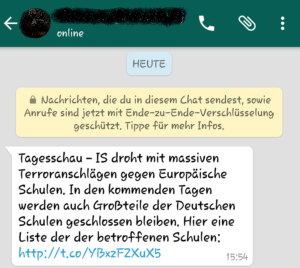 WhatsApp-Fake: Terroranschläge gegen Europäische Schulen