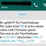 WhatsApp-Fake: 500 € extra von der Familienkasse