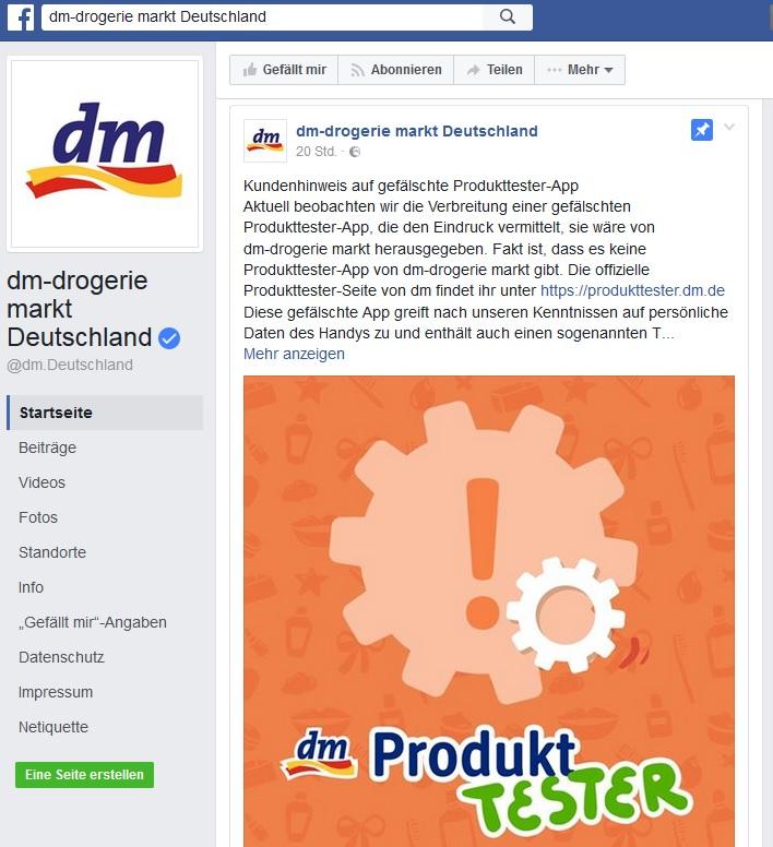 dm-Facebook-Warnung (Screenshot dm-FB-Seite)