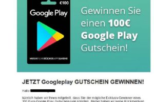 100€-Google-Play-Gutschein-Gewinnspiel? Achtung, Spam!