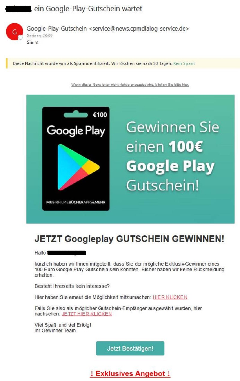 100 google play gutschein gewinnspiel achtung spam anti spam info. Black Bedroom Furniture Sets. Home Design Ideas