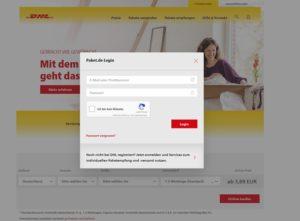 DHL-Phishing (hier echter Login auf dem Screenshot)