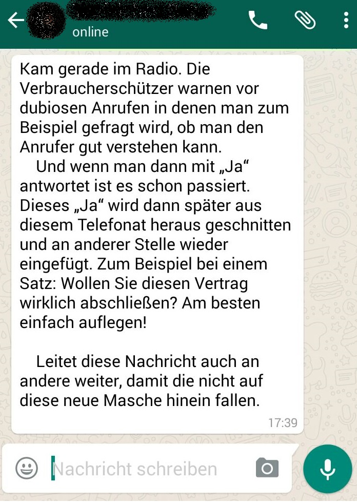 Kein WhatsApp-Fake