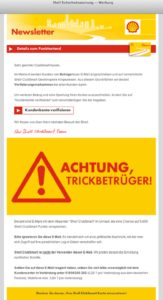 Shell ClubSmart Sicherheitswarnung