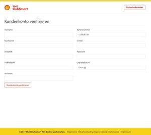 Shell ClubSmart Sicherheitswarnung eingeloggt