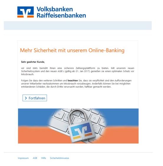 Vorsicht, Volksbanken-Raiffeisenbanken-Phishing