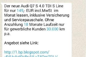 WhatsApp-Fake: Audi Q7 S für 149 €/monatlich