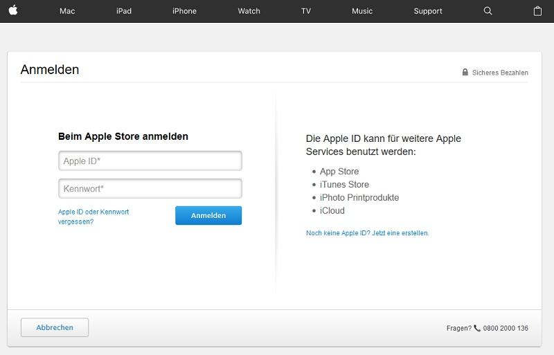 iTunes-Rechnung bekommen? Vorsicht, Fake! (Screenshot Original Login)