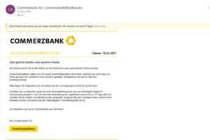 """Commerzbank-Phishing: """"Sicherheitsprüfung erforderlich"""""""